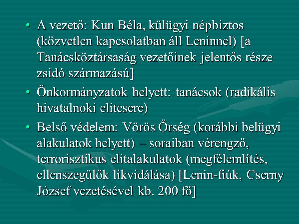 A vezető: Kun Béla, külügyi népbiztos (közvetlen kapcsolatban áll Leninnel) [a Tanácsköztársaság vezetőinek jelentős része zsidó származású]